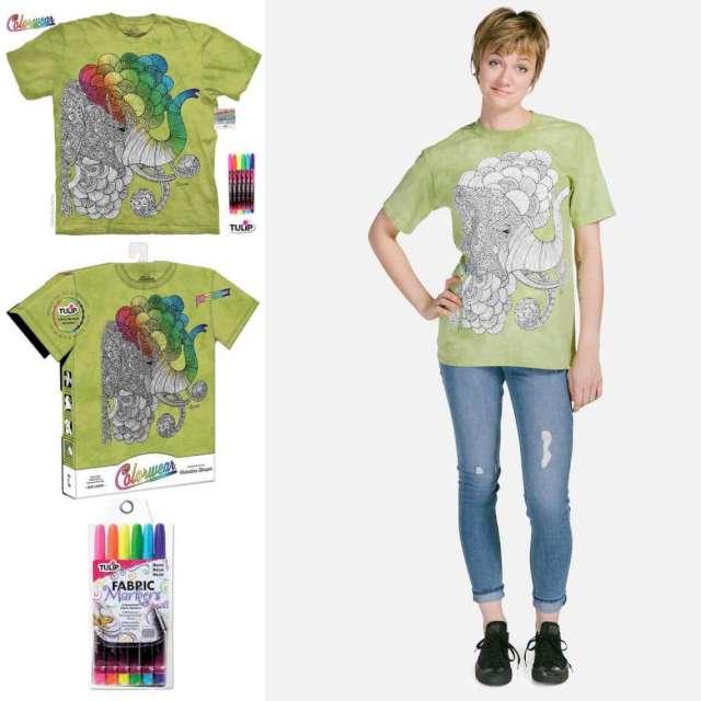 【摩達客】美國進口ColorWear 印度象之夢 (預購)DIY彩繪塗鴉短袖T恤(附畫筆+衣型盒)