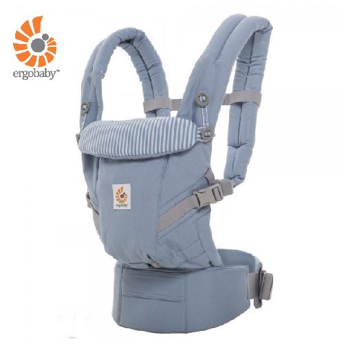 【送大地之愛有機護唇膏X1】美國【Ergo baby】360度 嬰兒揹巾 - 蔚藍直紋