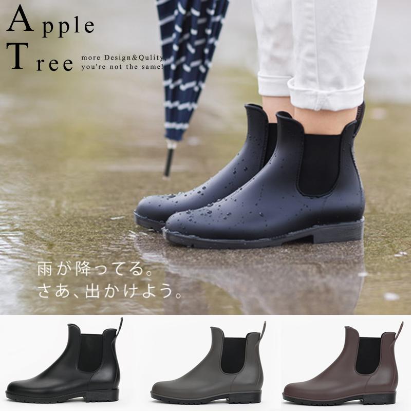 ★日本同步販售★AppleTree日韓-霧面防汙彈力鞋口PVC短筒雨鞋3色【S611001】