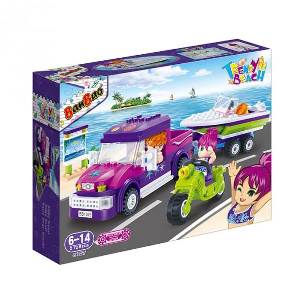 【BanBao 積木】沙灘女孩系列-遊艇運送車 6127  (樂高通用) (單筆訂單購買再加送積木拆解器一個)