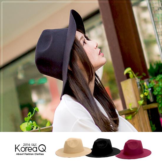 毛呢帽 韓版百搭毛呢紳士寬簷帽(預+現) Korea Q【14090078】