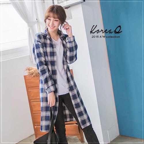 襯衫 磨毛格紋長版襯衫-藍色(預+現) Korea Q【15100070】