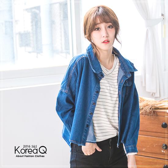 牛仔外套 個性黑扣傘狀牛仔外套(預+現) Korea Q【15100071】
