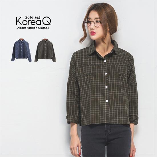 襯衫 復古格紋長袖襯衫(預+現) Korea Q【15100222】