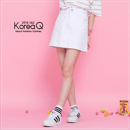 牛仔裙 牛仔A字白色單寧短裙(預+現) Korea Q【16050327】