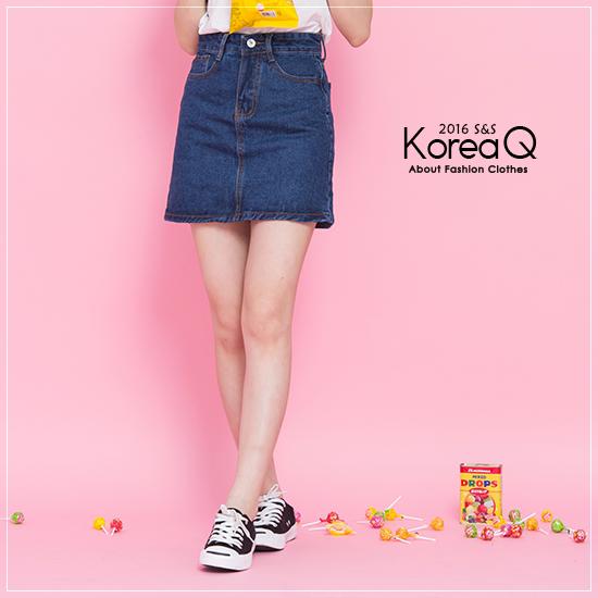 牛仔裙 牛仔A字藍色單寧短裙(預+現) Korea Q【16050328】
