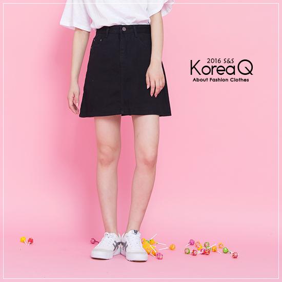 牛仔裙 牛仔A字黑色單寧短裙(預+現) Korea Q【16050329】