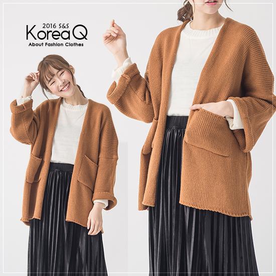 外套 繭型九分寬袖毛衣外套(預+現) Korea Q【16120043】