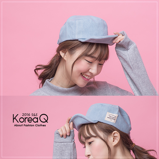 鴨舌帽 牛仔貼布鴨舌帽(預+現) Korea Q【16120049】