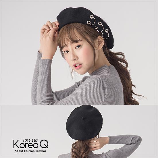 畫家帽 金屬扣環毛呢畫家帽(預+現) Korea Q【16120051】
