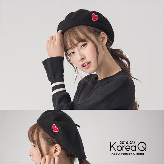 畫家帽 愛心刺繡毛呢畫家帽(預+現) Korea Q【16120053】