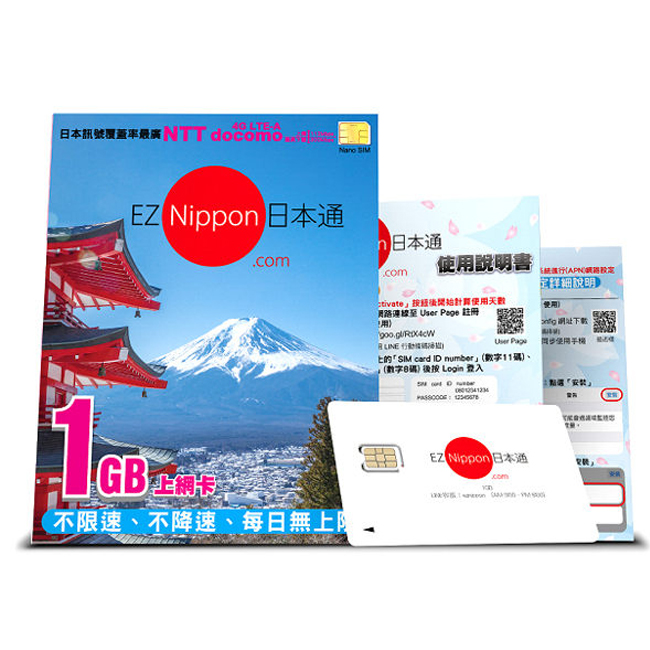 【EZ Nippon】日本通SIM卡1GB上網卡。60天(NANO)/1022002001