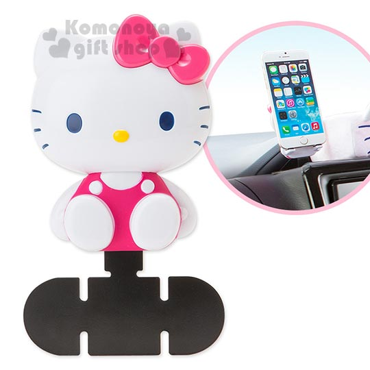 〔小禮堂〕Hello Kitty 車用造型手機座《粉.坐姿.泡殼》