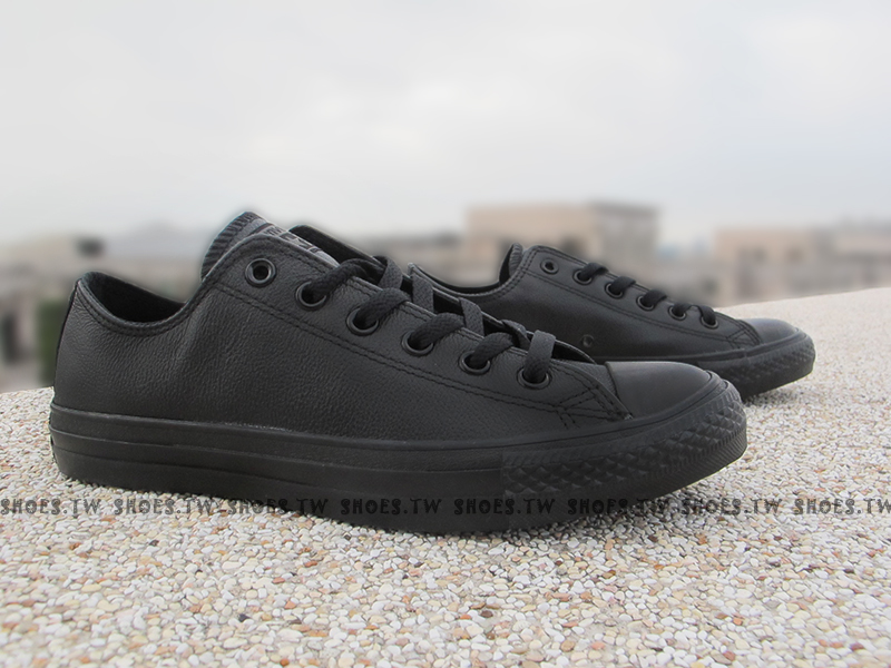 [27cm]《限量5折》Shoestw【1T865】CONVERSE 經典 基本款 荔枝皮革 低筒 全黑 黑木炭 工作鞋