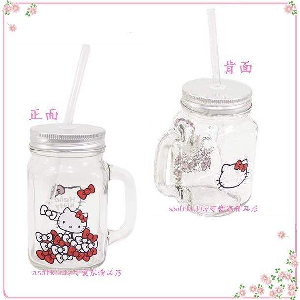 asdfkitty可愛家☆KITTY有蓋玻璃杯附吸管-蝴蝶結版-梅森瓶-當水杯.飲料杯.沙拉罐-日本正版