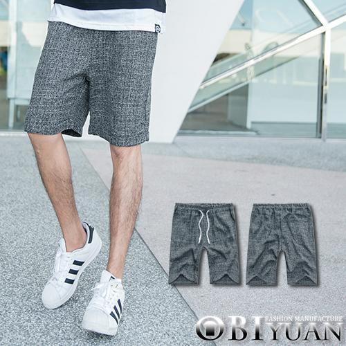 短褲【F55572】OBI YUAN韓版英倫雅痞風棉麻混色編織質感抽繩休閒褲