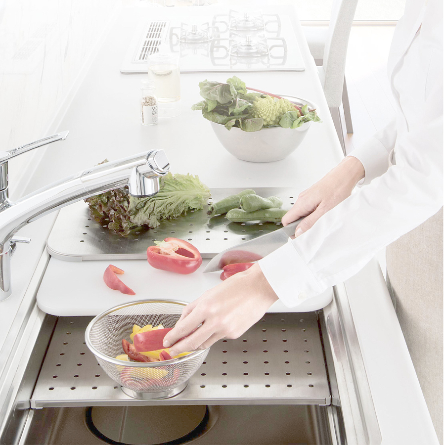 【預購】日本廚房用水材-一體成型不鏽鋼機能型3D靜音水槽【SUE7641】