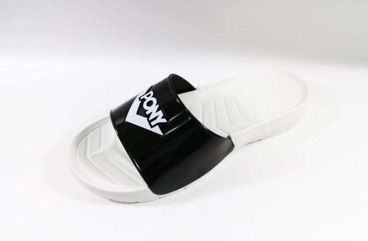 [陽光樂活]PONY 中性 拖鞋 透氣舒適- 62U1SL63SW 經典黑白 漆皮亮色