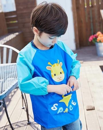 Lemonkid◆可愛長頸鹿防水防髒反穿式畫畫衣罩衣-深藍色