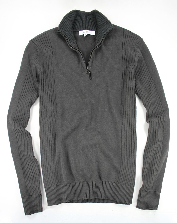 美國百分百【全新真品】Calvin Klein 針織衫 CK 線衫 上衣 棉質毛衣 半拉 皮革 男款 鐵灰色 L號 B665