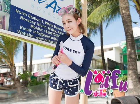 來福,V144浮潛衣韓版浪花沖浪服浮潛長袖泳衣單外套,單上衣女生售價790元