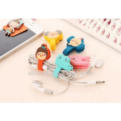 【G13110401】韓國 可愛卡通羅馬尼按扣式耳機繞線器 理線器 綁線器 (單個入)