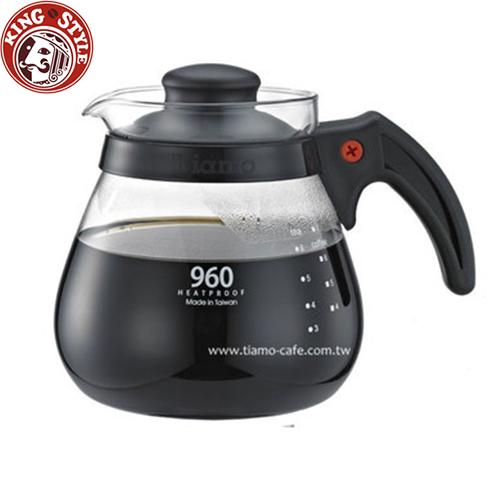 金時代書香咖啡 Tiamo 分享款咖啡玻璃壺 花茶壺 960cc 黑色