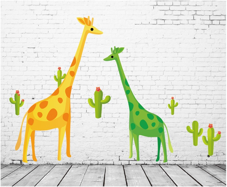 【壁貼王國】卡通系列無痕壁貼 《黃綠長頸鹿 - AY7035》