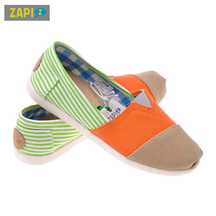 ZAPI休閒懶人鞋-綠白條紋