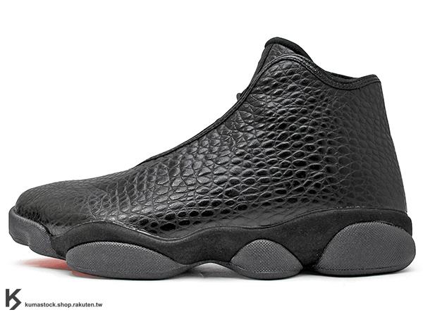 [43% OFF] 2016 台灣未發售 經典 HYBRID 改良 休閒鞋式樣 NIKE AIR JORDAN HORIZON PREMIUM 全黑 黑灰 蟒蛇 AJ 13 XIII (822333-010) !