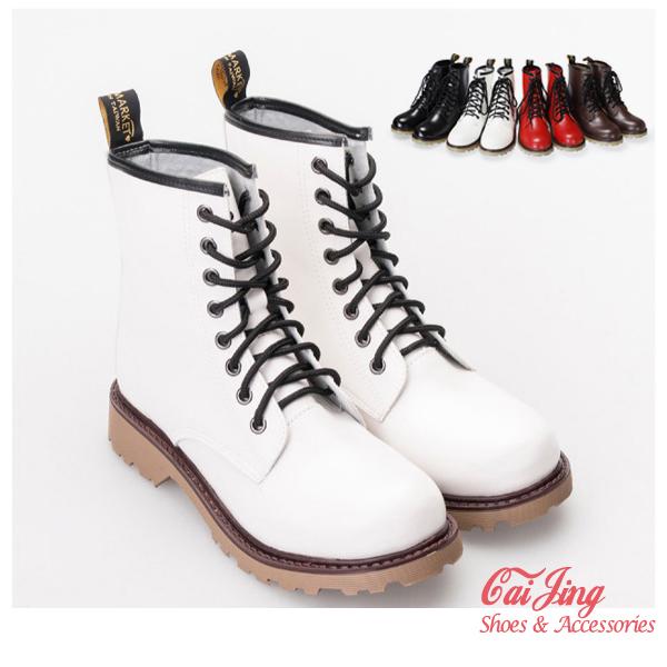 短靴_帥氣皮質馬汀靴 黑/白/紅/咖_采靚精品鞋飾