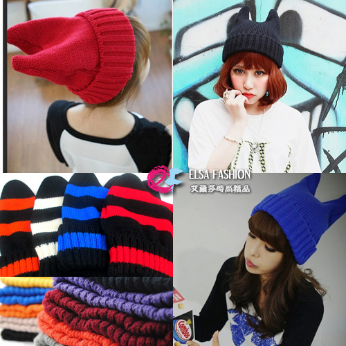 帽子呢帽毛線帽*艾爾莎*可愛貓耳朵小魔女毛線帽惡魔角糖果色針織帽【TOY2184】