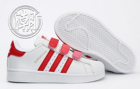 Adidas stan smith 魔鬼氈 史密斯 童鞋 白紅 大童鞋 漸變 學步 透氣 經典 百搭【T0068】潮