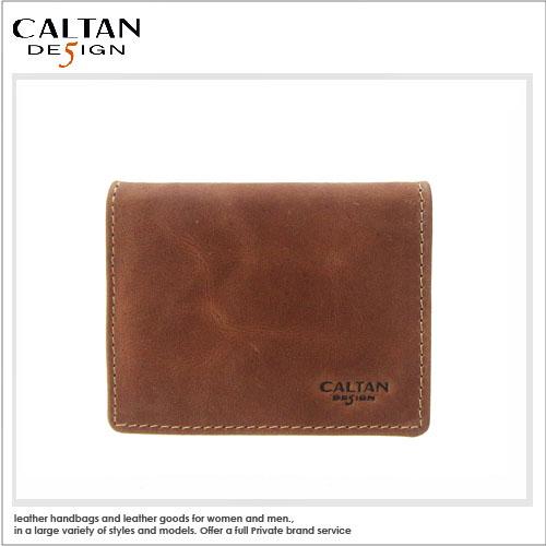 名片卡片夾-CALTAN - 真皮時尚暗扣式零錢卡片兩用包 - ht-tan1764