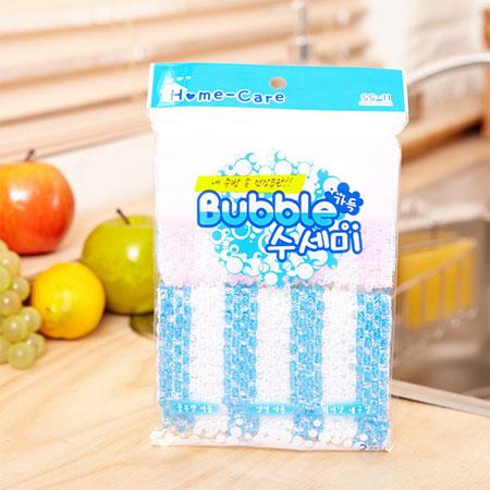 韓國 泡泡雙面菜瓜布 2入 顏色隨機 菜瓜布 廚房清潔 清潔 洗碗 杯子【B061969】