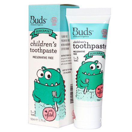 【悅兒園婦幼生活館】Buds 芽芽有機 木醣醇牙膏-薄荷50ml (1-3歲)