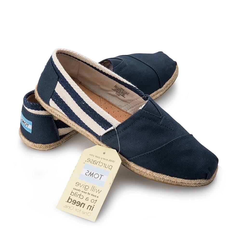 【TOMS】藍色寬條紋學院風平底鞋 Navy Stripe University Women's Clssics