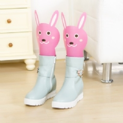 WallFree窩自在★卡通造型可調高度靴撐片彈力靴撐-粉色兔子