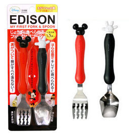 兒童學習餐具-Baby Joy World-日本Edison 幼兒不銹鋼防滑學習湯叉組(日本製)-米奇