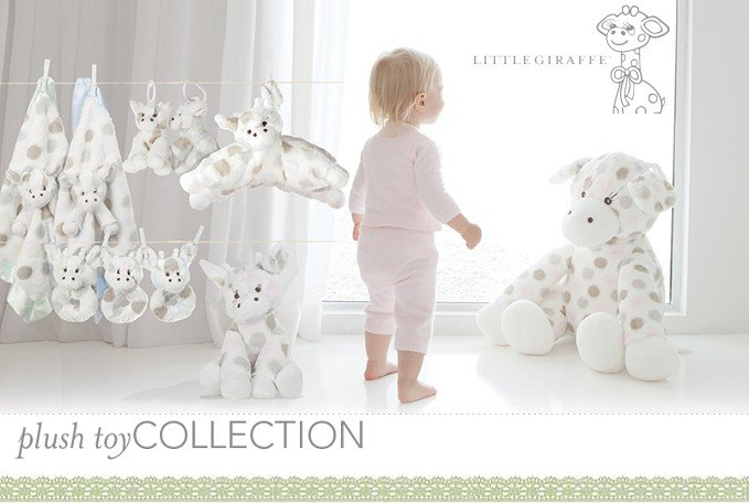安撫巾-Baby Joy World-【美國Little Giraffe】豪華彩色點點長頸鹿安撫巾-藍色(LXDBLGBL)