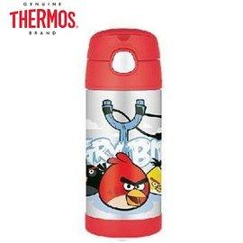 Baby Joy World-【美國 THERMOS 膳魔師】不銹鋼真空保溫瓶 軟式吸管式彈跳蓋 兒童學習水杯水壺-AngryBird 憤怒鳥