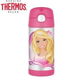 Baby Joy World-【美國 THERMOS 膳魔師】不銹鋼真空保溫瓶 軟式吸管式彈跳蓋 兒童學習水杯水壺-Barbie 芭比