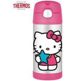 Baby Joy World-現貨-美國 THERMOS 膳魔師-不銹鋼真空保溫瓶 軟式吸管式彈跳蓋 兒童學習水杯水壺-Hello Kitty