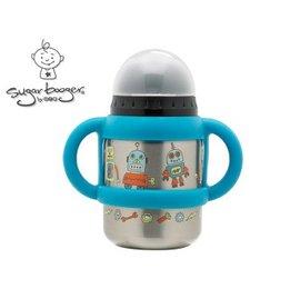兒童水杯水壺-Baby Joy World-【美國Sugarbooger】兒童不鏽鋼水壺水杯 350ml-機器人(A870)