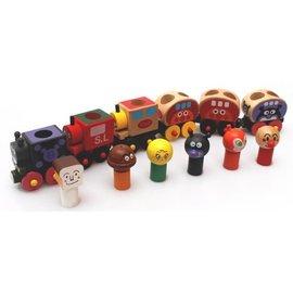 益智玩具-Baby Joy World-日本麵包超人可愛變身磁鐵車木製玩具六件組