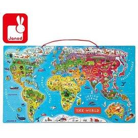 拼圖-Baby Joy World-法國Janod 磁鐵世界地圖木頭拼圖