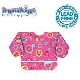 Baby Joy World圍兜口水巾美國Bumkins Sleeved Bib透氣防水防臭兒童圍兜口水巾【6M-2歲適用(長袖)】粉紅圈圈(SU420)