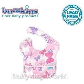 圍兜口水巾-美國Bumkins Super Bib透氣防水防臭兒童圍兜口水巾-【3個月~2歲適用(無袖)】-粉紅蝴蝶(S241)