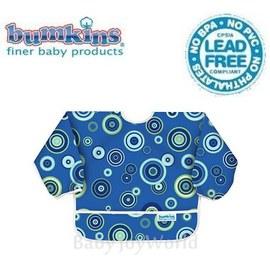 Baby Joy World圍兜口水巾美國Bumkins Sleeved Bib透氣防水防臭兒童圍兜口水巾【6M-2歲適用(長袖)】 藍色圈圈(SU430)