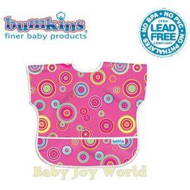 Baby Joy World圍兜口水巾-美國Bumkins Junior Bib透氣防水防臭兒童圍兜口水巾-【1-3歲適用(短袖)】-粉紅圈圈(U420)